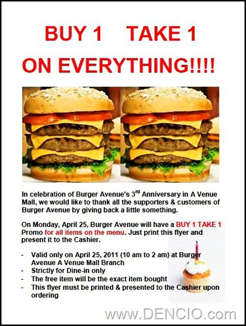 Burger Avenue Buy 1 Take 1 Sale